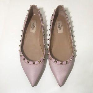Valentino Ballerina Pink Rockstud Flats